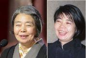 左は2013年3月、「わが母の記」で日本アカデミー賞・主演女優賞を受賞した際の樹木希林さん=東京都内のホテル 右は1989年3月17日、東京プリンスホテルにて撮影