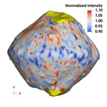 小惑星りゅうぐう表面の水の分布。赤い部分に多く青は少ない。黄色は未計測(北里宏平・会津大准教授提供)