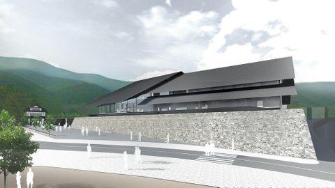 県と対馬市が2020年開館を目指し、来年1月着工する対馬博物館(博物館棟ゾーン)の完成予想図。左奥は、金石城跡の櫓門(同市博物館建設推進室提供)