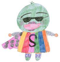 当時小学5年だった下内さんが描いたすだちくんの原画