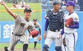昨夏の秋田大会決勝。力投する山口(写真左)と、ピンチで捕手と言葉を交わす吉田(同右)