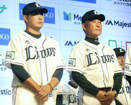 出陣式に参加した西武の松坂(左)。右は辻監督=28日、埼玉県所沢市