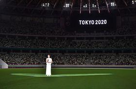 国立競技場でメッセージを発信する競泳の池江璃花子選手=7月23日(代表撮影)