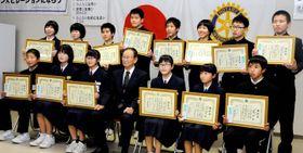 善行表彰を受けた伊予市と松前町の中学生