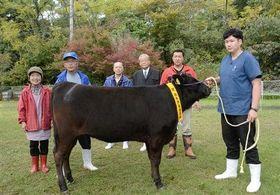 県家畜市場の過去最高値で落札された黒毛和種の雌子牛「ゆりひさ」と、子牛を育てた大津實さんとテルヨさん夫婦(左)=大津町