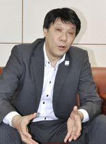 インタビューに応じるNTT東日本の井上福造社長