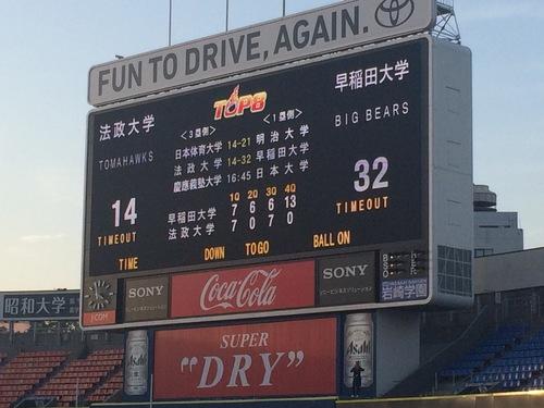 早大の勝利を示すスコアボード=11月13日・横浜スタジアム