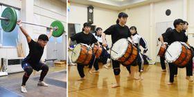 ㊧放課後の練習に汗を流すウエイトリフティング部の菊池祐人さん、㊨息を合わせて踊りの技術を磨く鹿踊り部の部員ら