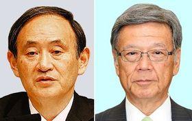 (左から)菅官房長官と翁長知事