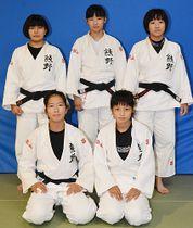 写真【女子団体3位の熊野。(後列左から)新宅未悠さん、長谷川なつみさん、寺本莉奈さん、(前列左から)山本唯椰さん、太田遥水さん】