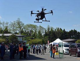 ドローンによる情報収集や操縦体験を行った鯵ケ沢町の総合防災訓練