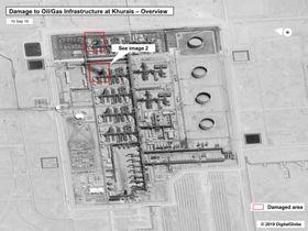 攻撃で損壊した国営石油会社サウジアラムコのクライス油田(米政府、DigitalGlobe提供・AP=共同)