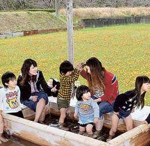 花を眺めながら足湯で一休みする親子=松崎町那賀