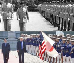 栄誉礼を受け防衛庁を去った当時の栗栖弘臣統幕議長(上)=1978年7月、儀仗隊の前を歩くトランプ米大統領と安倍首相(下)=2017年11月