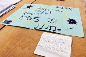 女児がいじめに悩む心境を書いたメモと絵=19日午後、仙台市
