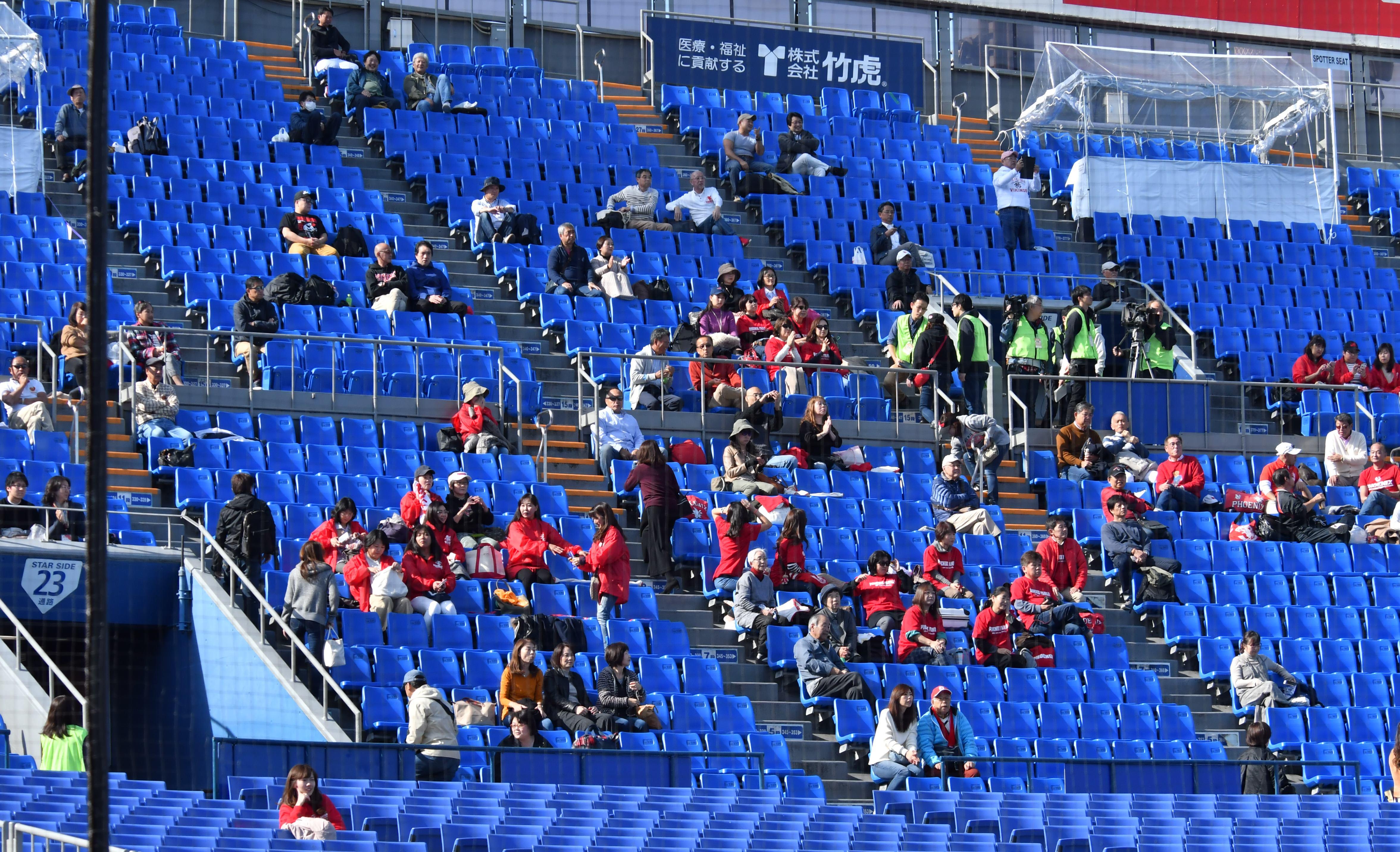 社会人合同チームとの練習試合を見守る日大の保護者たち=11月17日・横浜スタジアム