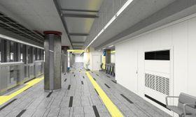 来年6月6日に開業する日比谷線の新駅「虎ノ門ヒルズ駅」のホームのイメージ(東京メトロ提供)