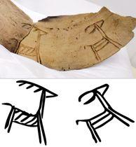 大分県玖珠町の四日市遺跡から見つかった弥生時代中期のシカが描かれた土器。下は描き起こした図
