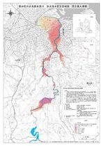 県がホームページで公表した洪水浸水想定区域図の一部(新井田川の想定最大規模)