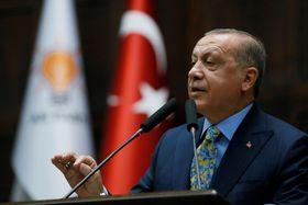 23日、トルコの首都アンカラの国会で演説するエルドアン大統領(トルコ大統領府提供・ゲッティ=共同)