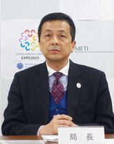 記者会見する近畿経済産業局の森清局長=17日午後、大阪市