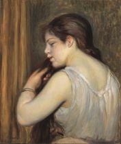 ピエール=オーギュスト・ルノワールの「髪を結う少女」(ユニマットコレクション)