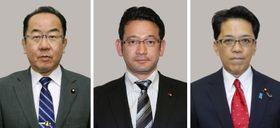左から西銘恒三郎氏、国場幸之助氏、宮崎政久氏