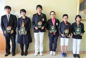 各部門で優勝した(左から)上原、勝見、吉沢、二宮、岩井、西脇