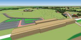 新八雲駅周辺のイメージ図。手前の駅舎を出ると、牧草地が広がる配置とした(八雲町提供)