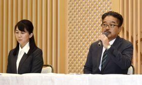 記者会見する「NGT48」の運営会社「AKS」の松村匠運営責任者兼取締役(右)とNGT48劇場の早川麻依子支配人=22日午後、新潟市