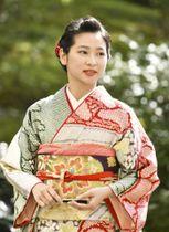 葵祭の第64代「斎王代」に選ばれた負野李花さん=15日午後、京都市