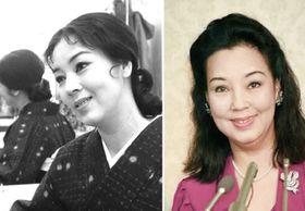 1970年2月7日、テレビ局の楽屋でインタビューに答えるの京マチ子さん(左) 87年4月、紫綬褒章受章の喜びを語る京マチ子さん(右)