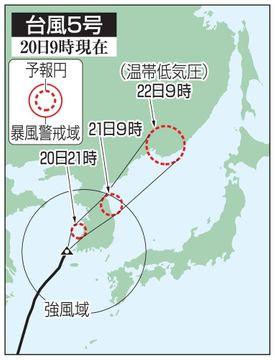 台風5号、西日本大雨の恐れ