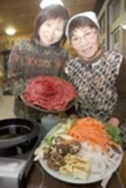 提供を始めた「てんてんのしし鍋」=浜松市北区引佐町のてんてんゴーしぶ川