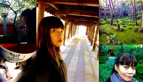 孤独な傭兵の京都大作戦のそれぞれ。右から時計回りに 祇王寺〜通天橋〜うちの鳥獣戯画〜文の助茶屋