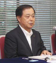 特重について、踏み込んだ説明を避けた原電の村松社長=東京都千代田区で