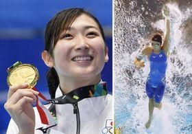 2018年8月のジャカルタ・アジア大会の競泳女子50メートル自由形で優勝した池江璃花子選手。右はそのアジア大会で泳ぐ池江選手(共同)