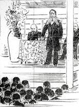 高知市で演説する71歳の板垣退助を描いた「土陽新聞」の挿絵。63歳で政界を引退した後は社会改良運動に奔走した