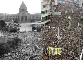 日本の国会を包囲するデモ隊=1960年6月18日(左) 中国本土への容疑者引き渡しを可能にする「逃亡犯条例」改正案の撤回を求めデモ行進する香港市民たち(右)=2019年6月16日