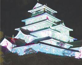鮮やかな映像で彩られた鶴ケ城=20日午後7時ごろ、会津若松市