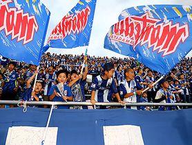 入場者数1万8000人を超え、完勝した新潟戦で声援を送るサポーター=8月11日、天童市・NDソフトスタジアム山形