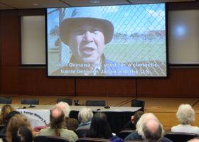 12日、米ボルティモアで上映された沖縄平和運動センターの山城博治議長の反基地運動を紹介した動画(共同)