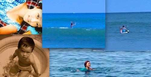 新作水着で海に挑む 障害に滅法弱い子ども時代はパーマンプールで水遊び