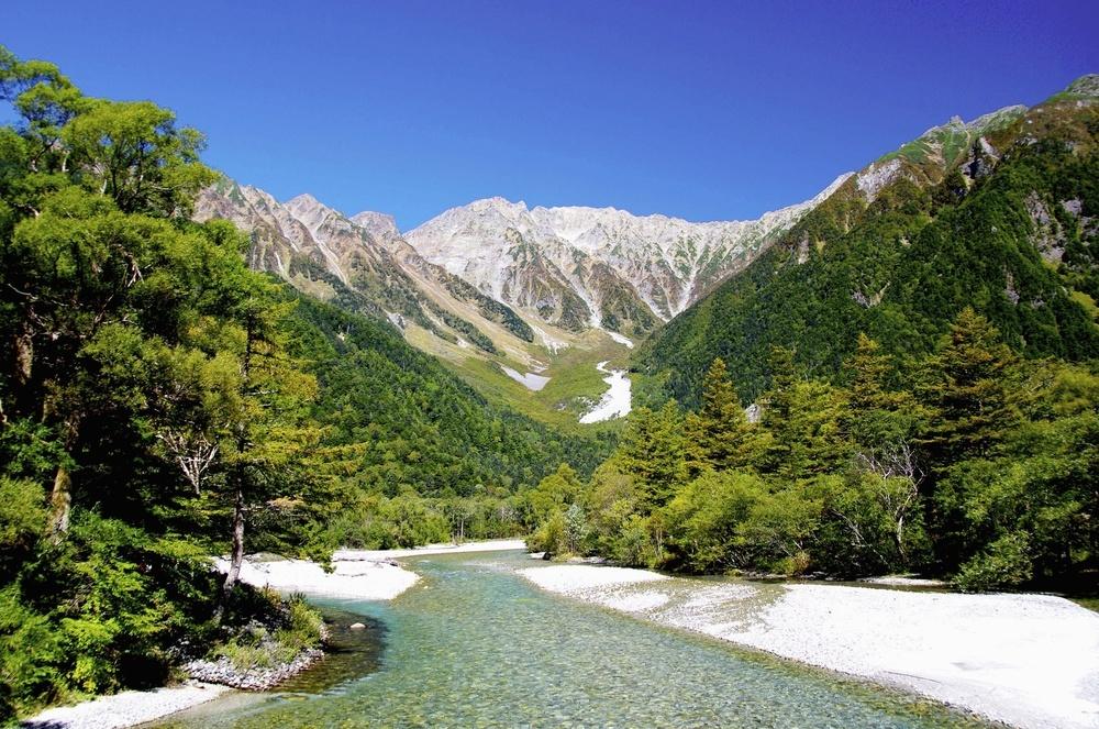 上高地から見る梓川と夏の穂高連峰=撮影年月不明