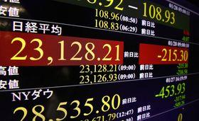 下落した日経平均株価を表示するモニター=28日午前、東京・東新橋