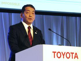 全車種に電動モデルを設定すると発表したトヨタ自動車の寺師茂樹副社長=18日午後、東京都内