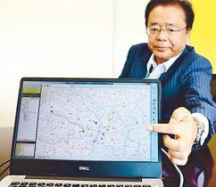 送迎ルートを自動作成するシステムを紹介する湯浅社長=ジオインフォシステム