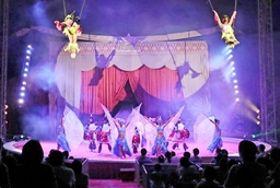空中のダイナミックな演技が観客を魅了したポップサーカス新潟公演=16日、新潟市中央区鐘木