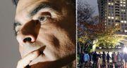 09年3月期連結決算予想で記者会見し、険しい表情の日産自動車のカルロス・ゴーン氏=2009年2月9日午後、東京都中央区 右は日産自動車のカルロス・ゴーン会長の自宅近くに集まった報道陣=2018年11月19日午後、東京都港区