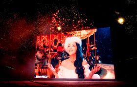 安室奈美恵さんの映像と楽曲に合わせて打ち上がる花火=16日午後8時14分、宜野湾市・トロピカルビーチ特設会場(金城健太撮影)
